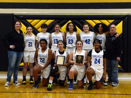 The Zanesville eighth grade girls recently wrapped up a 17-1 season after winning the East Central Ohio League Tournament at River View.