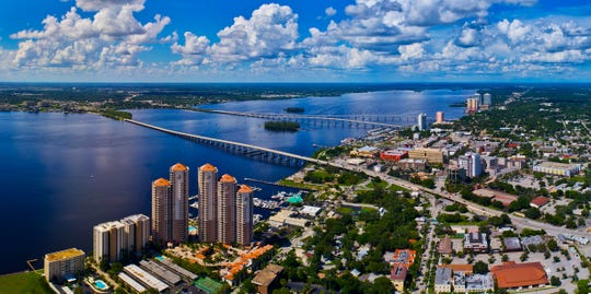 A view of the Caloosahatchee and downtown Fort Myers. Reports of cleaner air are coming from around the world as people shelter in place due to COVID-19.