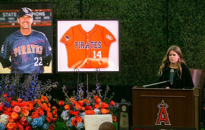 Sammy Forbath, Alyssa Altobelli's best friend, speaks at a memorial service honoring baseball coach John Altobelli, his wife, Keri, and their daughter Alyssa at Angel Stadium.