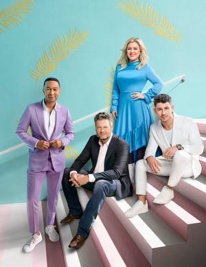 "John Legend, Blake Shelton, Kelly Clarkson and newcomer Nick Jonas make up the new ""Voice"" judging panel as the NBC reality series returns for Season 18 on Feb. 24."