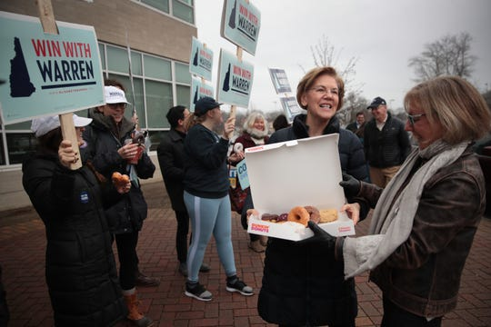Democratic presidential candidate Sen. Elizabeth Warren (D-MA) visits with voters and supporters and shares doughnuts outside of a polling place at Portsmouth Middle School on February 11, 2020 in Portsmouth, New Hampshire.