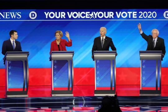 Democratic presidential debate in Manchester, New Hampshire, on Feb. 11, 2020.