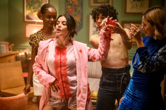 "Katy (Lucy Hale) shares a New York moment with her friends Josie (Ashleigh Murray), Jorge (Jonny Beauchamp) and Pepper (Julia Chan) in ""Katy Keene."""