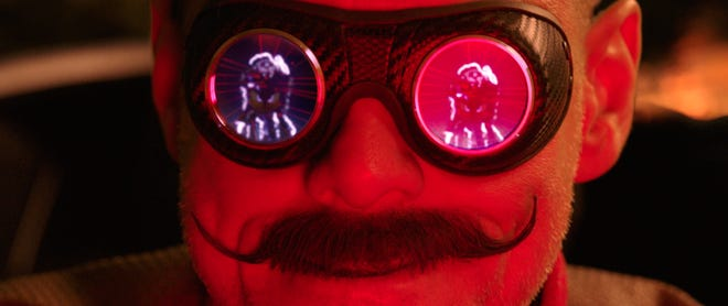 """Jim Carrey plays megalomaniacal genius Dr. Robotnik, villain to a video-game critter, in """"Sonic the Hedgehog."""""""