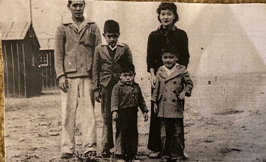 This photo dates back to the time during World War 2 when the family of current San Francisco County Sheriff Paul Miyamoto — the first Asian American sheriff in California history — were interned along with thousands of other Japanese Americans, in their case at the Heart Mountain detention center in Wyoming. From left to right, back row: Sheriff Miyamoto's grandfather, Joe Miyamoto; Miyamoto's father, Phil; and his mother, Asaye Mae Miyamoto. Front row (left to right): Miyamoto's uncles, Keith Miyamoto and Donald Miyamoto. Phil Miyamoto became a California appellate court judge.