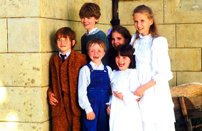 "Raphael Coleman, left, played Eric in ""Nanny McPhee."" From left to right, he was photographed with Thomas Brodie-Sangster (Simon), Sam Honywood (Sebastian), Jennifer Rae Daykin (Lily), Holly Gibbs (Christianna) and Eliza Bennett (Tora)."