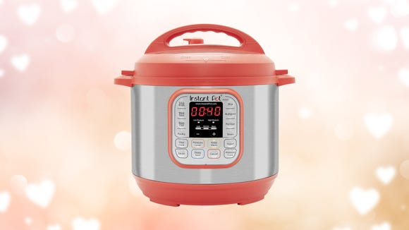 This red Instant Pot is the perfect color to whip up a home-cooked Valentine's Day dinner.