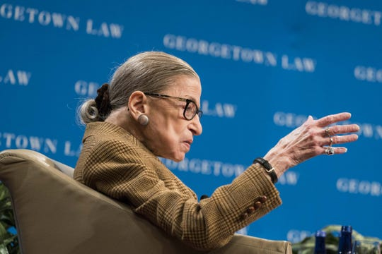 Supreme Court Justice Ruth Bader Ginsburg participates in a discussion at the Georgetown University Law Center in Washington, D.C. Justice Ginsburg and federal appeals court Judge McKeown discussed the 19th Amendment which guaranteed women the right to vote.