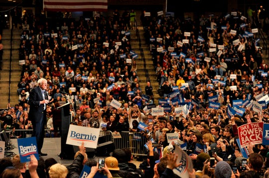 Democratic presidential hopeful Bernie Sanders addresses a rally at the University of New Hampshire.