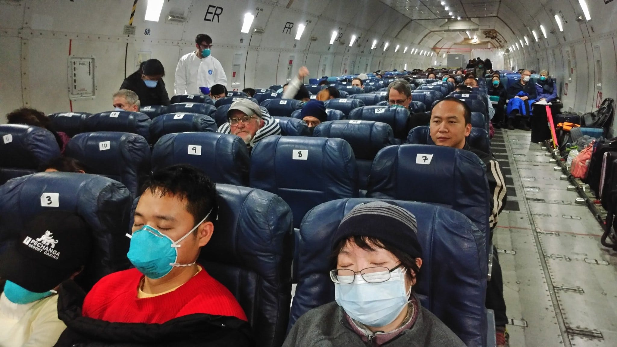 Passengers fly from Wuhan, China to California on Feb. 5, 2020.