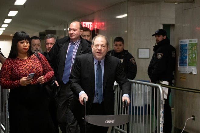 Harvey Weinstein arrives for his sex-crimes trial, Feb. 11, 2020 in New York.