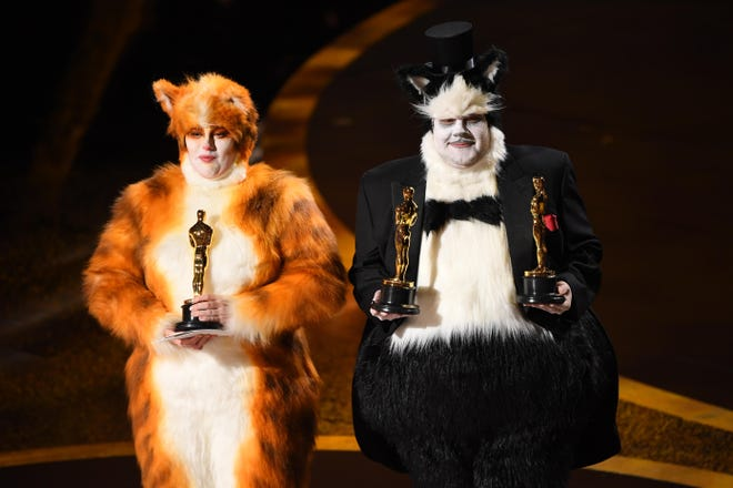 James Corden (left) and Rebel Wilson present the award for achievement in visual effects during the 92nd Academy Awards at Dolby Theatre. The moment has come under criticism.