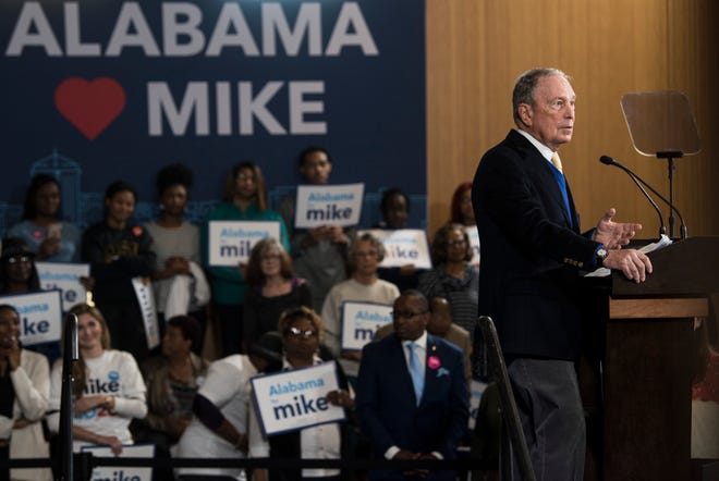 Democratic presidential candidate Mike Bloomberg speaks during a Feb. 8 rally in Alabama.