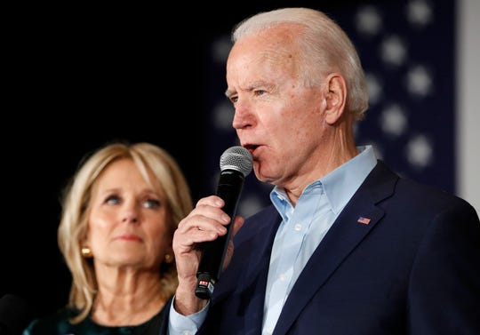 Joe and Jill Biden in Des Moines, Iowa, on Feb. 3, 2020.