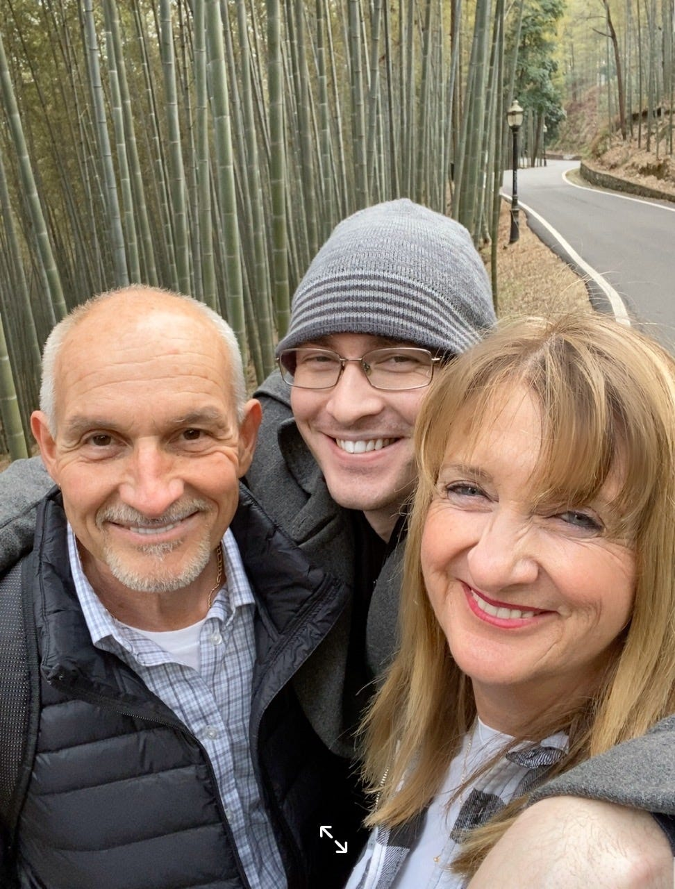 Claude and Ilona visit a national park with their son, Craig, on Jan. 22, 2020, before the lockdown began in Wuhan, China.