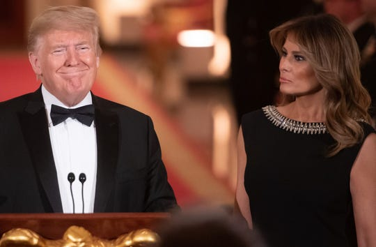 President Donald Trump and first lady Melania Trump hosted the Governors Ball in the East Room of the White House on Feb. 9, 2020.