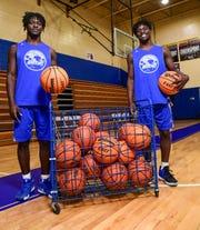 Wren senior Dez Frazier(4), left, and twin brother Tez Frazier(15) in the school gymnasium in Piedmont in February.