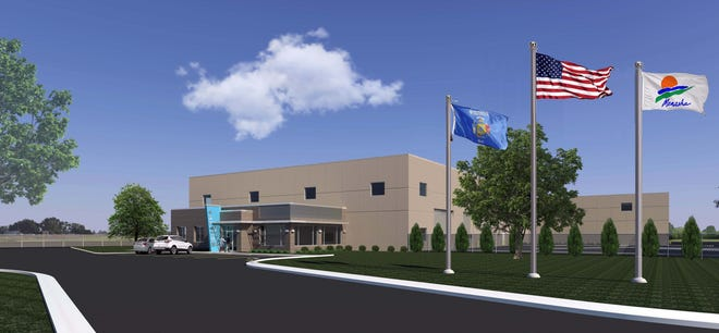An architectural drawing shows Menasha's $11.4 million public works facility that will be built at 455 Baldwin St.