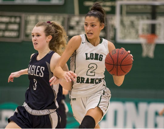 Middletown South vs Long Branch girls basketball. Long Branch's Anyssa Fields.  