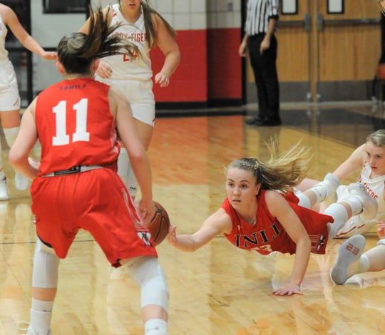 Jim Ned guard Brooke Galvin flicks a pass while in the air toward teammate Claire Cooley (11) on Tuesday, Feb. 11, 2020, at Anson High School.