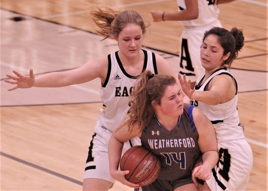 Abilene High's Kelly Boyland, left, and Leila Musquiz pressure Weatherford's Emily Byrd in the second half. AHS beat the Lady 'Lady Roos 50-36 in the District 3-6A game Tuesday, Feb. 11, 2020, at Eagle Gym.