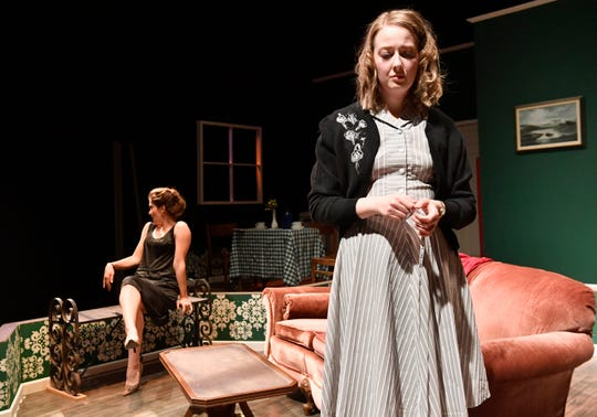 """Katie Macune (right) and Mariah Martin rehearse a scene in """"Pack of Lies"""" at Abilene Christian University Monday Feb. 10, 2020."""