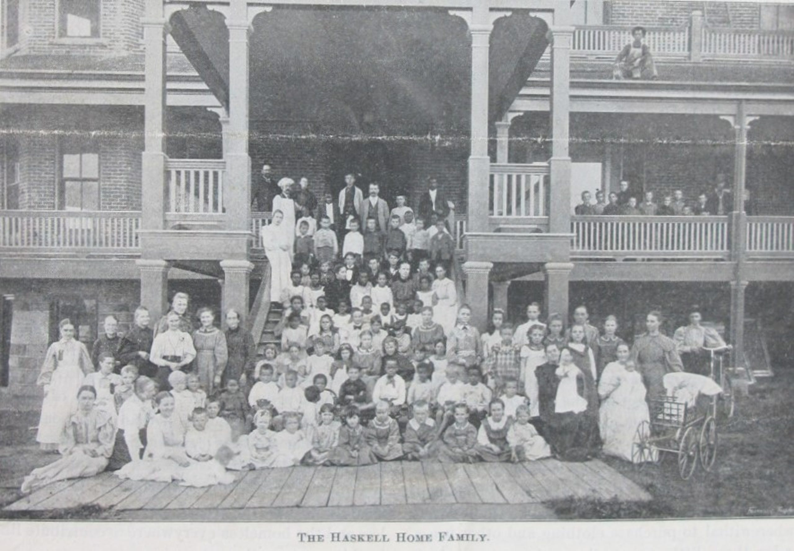 "A photo of the children and staff at the Haskell Home for Orphans, as it appeared in the Oct. 4, 1887 edition of ""The Haskell Home Appeal."""