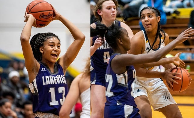Lakeview's Brazyll Watkins, left, and Battle Creek Central's Arieonna Ware each set all-time records for city basketball on Tuesday.