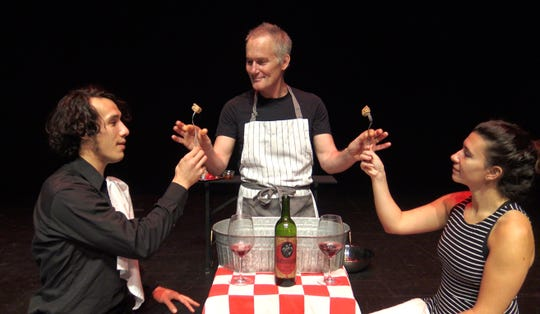 """Galumpha members Gil Young Choi, Andy Horowitz and Jennie Codis  perform in """"Chez Victoire de Wellington."""""""