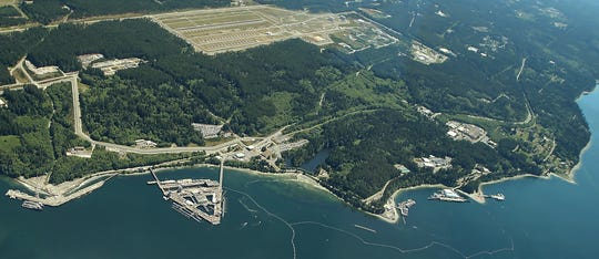 Naval Base Kitsap-Bangor, as seen from the air in a 2016 photo. The first case of COVID-19 on the base was reported Thursday.