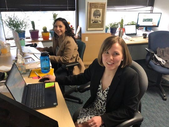Rose Clouston, right, is voter protection director of the Texas Democratic Party. She and Darcy Caballero, left, staff the party's voter-protection hotline.