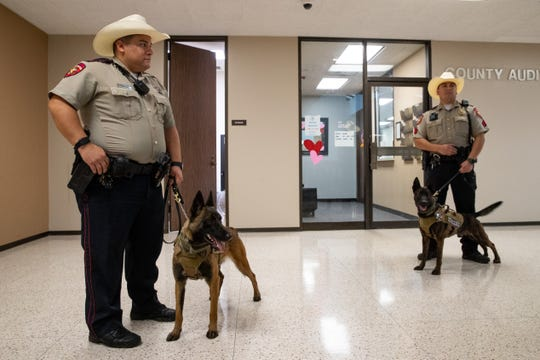 Nueces County Deputy Sheriff's hold their new K-9 officers  Hera and Grin as they wait to be introduced to the Nueces County Commissioners Court on Wednesday, Feb. 12, 2020.