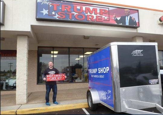 Mike Domanico stands outside the Trump store he just opened in Bensalem, Pennsylvania. 'The demand is there,' he says.