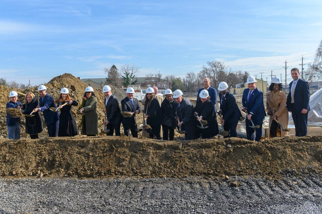 Officials from the City of Camden, the Michaels Organization and Camden County  break ground on the next phase of Branch Village in Camden's Centerville section.
