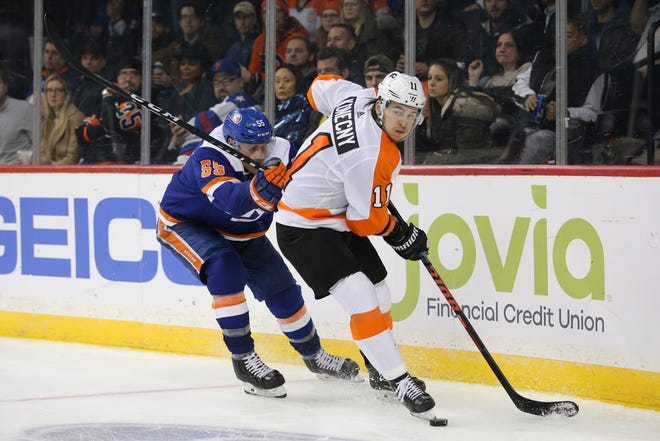 Travis Konecny and the Flyers are in a playoff spot and on the right side of a tight postseason race, even after a heartbreaking loss Tuesday against the New York Islanders