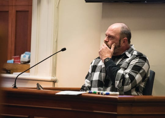 Mark Detty becomes emotional while testifying on the morning of Feb. 12, 2019.