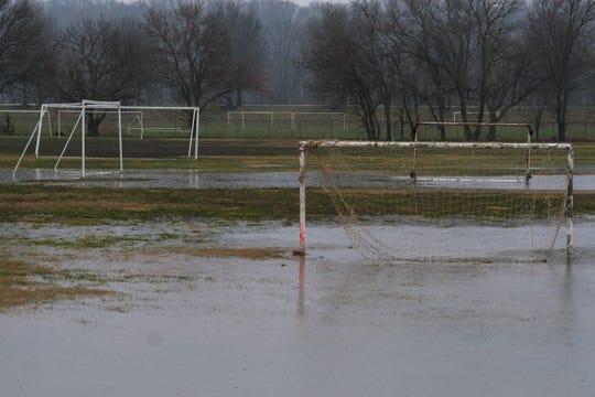 Soccer fields along Kellogg Avenue in Cincinnati experience flooding from heavy rainfall Wednesday, Feb. 12, 2020. A flash flood watch will continue for all of Greater Cincinnati through Thursday.