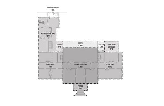 Historic phasing plan diagram of the historic house.