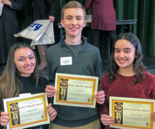St. Thomas Aquinas High School had three recipients from among its students: Joseph Dunn, Bethany Ciccarelli and Marianne Razzano, who were nominated by Parish of the Visitation, New Brunswick.