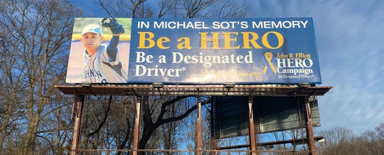 Billboard erected along Route 22 West in Union in honor and loving memory of Michael Sot Jr.
