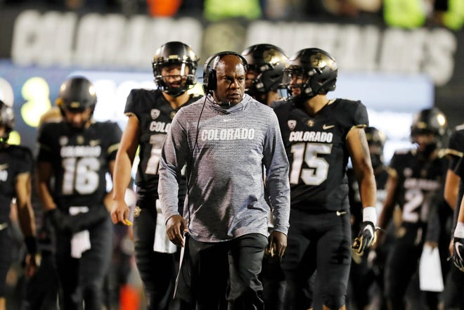 In this Oct. 25, 2019, file photo, Colorado head coach Mel Tucker watches during the first half of an NCAA college football game in Boulder, Colo.
