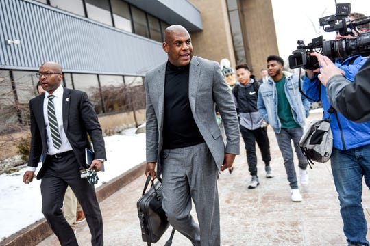 Michigan State's new head football coach Mel Tucker leaves the airport after arriving on Wednesday, Feb. 12, 2020, at the Capital Region International Airport in Lansing.