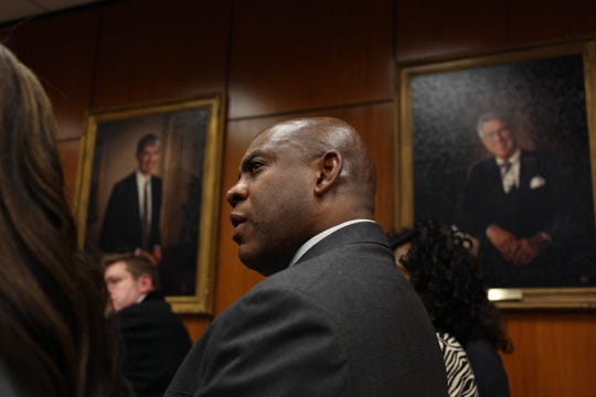 New Michigan State head football coach Mel Tucker waits to be introduced at a special MSU Board of Trustees meeting on campus in East Lansing on Wednesday.