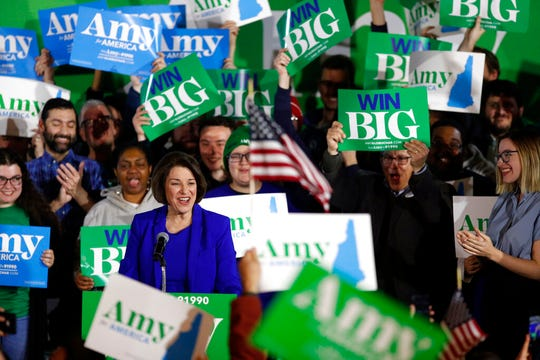 Democratic presidential candidate Sen. Amy Klobuchar, D-Minn., speaks at her election night party, Tuesday, Feb. 11, 2020, in Concord, N.H.