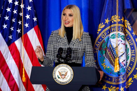 President Donald Trump's senior adviser and daughter, Ivanka Trump, speaks at a Cops for Trump campaign rally, Monday, Feb. 10, 2020, in Portsmouth, N.H.