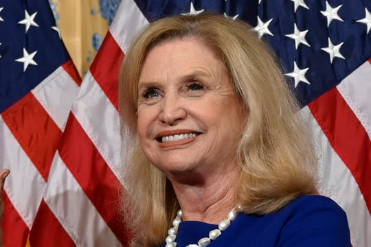 FILE - In this Jan. 3, 2019 file photo, Rep. Carolyn Maloney, D-N.Y., is sworn-in during the opening session of the 116th Congress, on Capitol Hill in Washington.