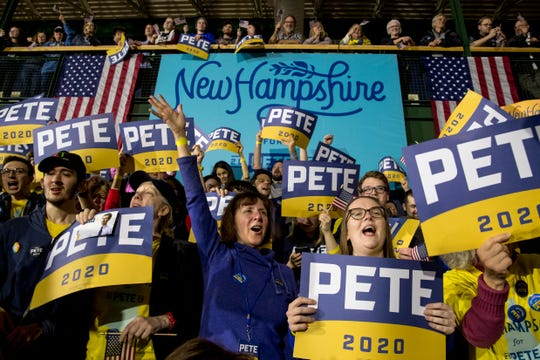 Supporters of Democratic presidential candidate former South Bend, Ind., Mayor Pete Buttigieg cheer at a primary night election rally at Nashua Community College, Tuesday, Feb. 11, 2020, in Nashua, N.H.