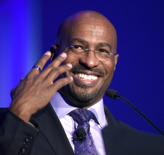CNN's Van Jones delivers the keynote address at the Downtown Detroit Partnership annual meeting in the Grand Riverview Ballroom at TCF Center on Wednesday.