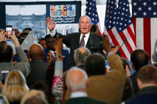 Democratic presidential candidate Michael Bloomberg waves to the crowd at the conclusion of his speech at the Greenwood Cultural Center in Tulsa, Okla., Sunday, Jan. 19, 2020.