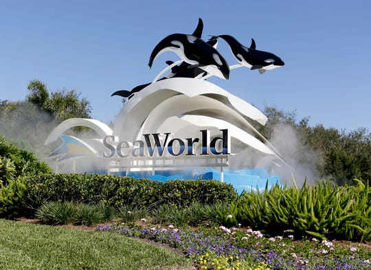 FILE - This Jan. 31, 2017, file photo, shows the entrance to SeaWorld, in Orlando, Fla.